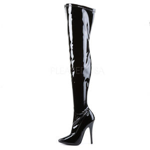 8b32defadfe Pleaser Shoes - Domina Black Patent Thigh High Boots Size 13